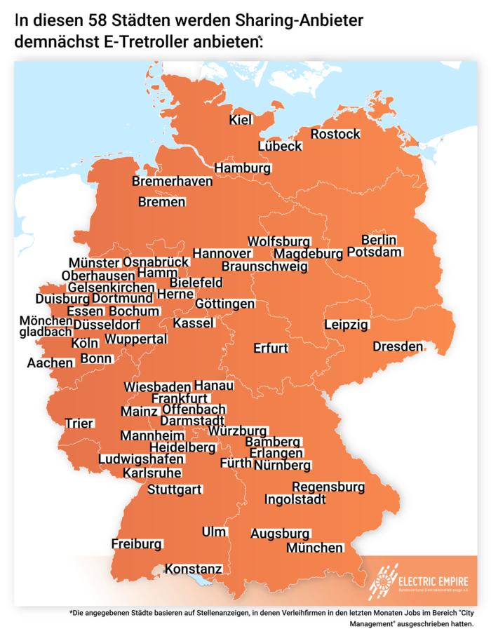 Deutschland Karte Städte.In Diesen 58 Städten Werden Sharing Anbieter Demnächst E Tretroller