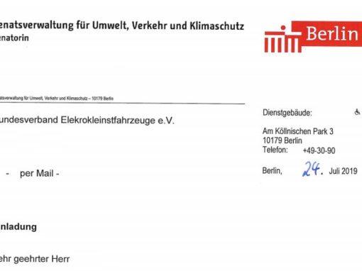 Gemeinsamer Austausch der Berliner Senatsverwaltung zum Sharing eScooter Betrieb