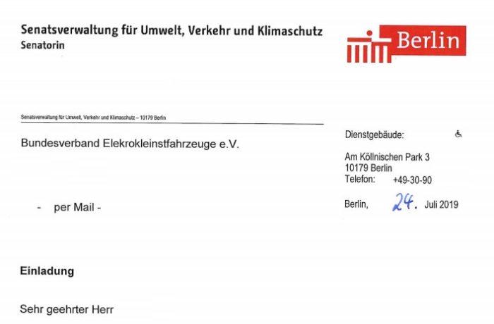 Anschreiben Berliner Senatsverwaltung